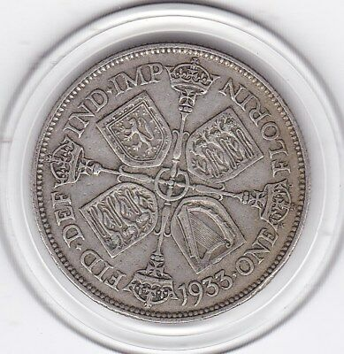 1933  King  George  V  Florin  (2/-)  Sterling Silver (50%)  Coin