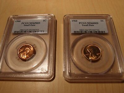 2 Pcgs 1960 Small Date Ms65 Red And Ms66 Red Lincoln Cent Blazers No Reserve!!!
