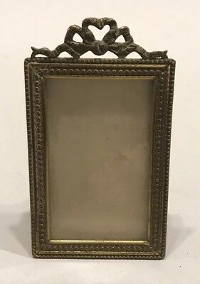 Vintage Miniature Brass Frame With Ribbon Top