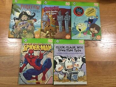 Leap Frog TAG Reader Books ~ Lot of 5 Hardcovers, Spiderman, Scooby Doo, ETC