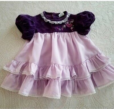 Vintage Baby Girls Purple Velvet and Ruffle Dress Childrens Clothes