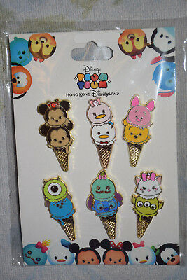 TSUM TSUM Ice Cream Cones Booster pack Disney 6 pin lot NEW Stitch Scrump Marie
