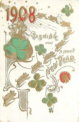 New Year 1908~9 Million Dollar Gold Pigs Race Across~Shamrock~Embossed~1907