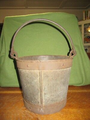 "Antique Steel Bucket Pail--Heavy Steel Rimmed-Handle-9 1/2"" Tall"