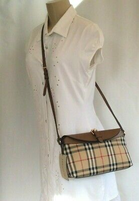 80e0f5e46705 NWT Burberry Women s Horseferry Check Small Leah Clutch Bag Honey Tan  Retail 895