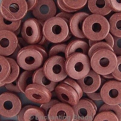 8mm Greek Disk Beads  Chocolate Brown G59 Large Hole Disc Narrow Rondelle Spacer