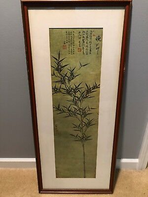 Vintage Japanese Scroll Bamboo Painting Framed - Signed
