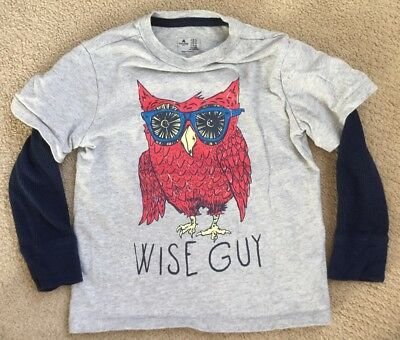 BOYS BABY GAP OWL SHIRT Size 5T THERMAL LONG SLEEVES