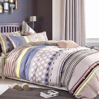 Single/Double/Queen/King/KS 100% Cotton Quilt/Duvet Cover Set-Adeline