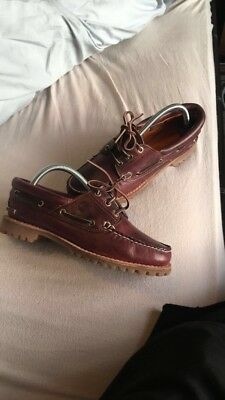 TIMBERLAND Brown Leather Mens Casual Boat Deck Shoes Moccasins Size 6