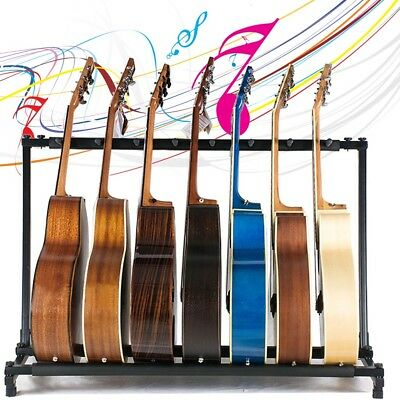 Black 3/5 Way Multi Guitar Rack Stand Padded Electric Acoustic Bass Holder New
