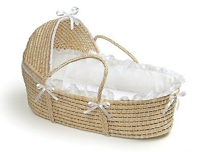 Natural Baby Infant Moses Basket w/ Hood & White Bedding Neutral Unisex NEW