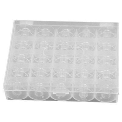 25pcs Plastic Empty Bobbins Case For Brother Janome Singer Sewing Machine O5P3