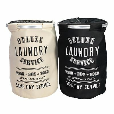 Round Laundry Baskets Canvas Hamper Basket Wash Storage Bin - Darks & Lights x2