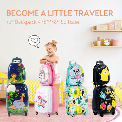 "2PC Kids Luggage Set 16""/18""Suitcase+12""Backpack Carry On Bag Travel Trolley Gif"