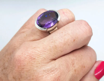 Amethyst Solitaire Ring, Sterling Silver, size 6 3/4, Protection