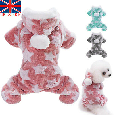UK Little Dog Soft Fleece Pom Pet Coat Pajamas Jumpsuit Cat Clothes Hood Costume