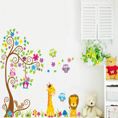 Home Decor wall Stickers Parede Cartoon Animal TreeFor Kids Children Rooms