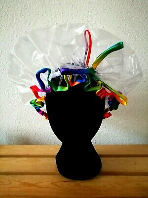 New Handmade Rainbow Design Satin Trim with Bow Shower Caps