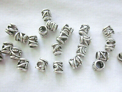 10 Antique Silver Coloured 9mmx8mm Large Hole Bead Spacers #3320 Jewellery Craft