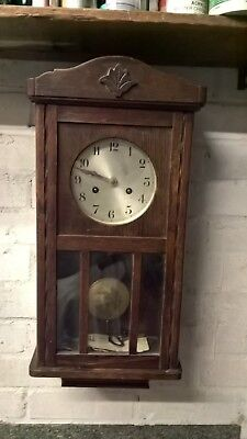 Antique Oak Cased 8 Day Chiming Wall Clock Wood Carved Surround