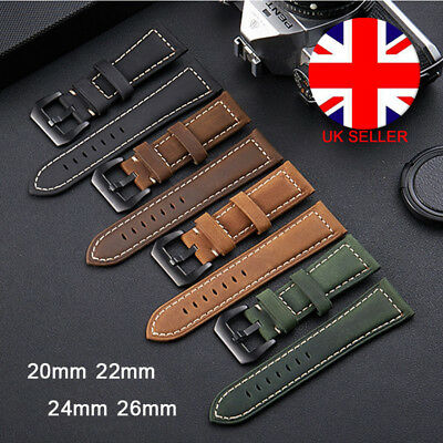 Mens Women Genuine Leather Suede Nubuck Watch Strap 20mm 22mm 24mm 26mm UK L4U