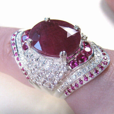 Women 925 Silver Filled Rings Oval Cut Ruby Fashion Wedding Ring Size 6-10