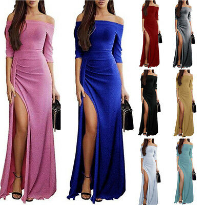 Women One Off Shoulder High Split Evening Party Cocktail Prom Maxi Long Dress UK