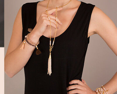 Treaty Jewellery gold long tassel grey beads necklace festival fashion boho