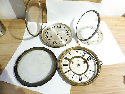 Found 3  Mixed Antique Brass Bevel Ring,glass  & Clock Faces#1= X Cross Arrows