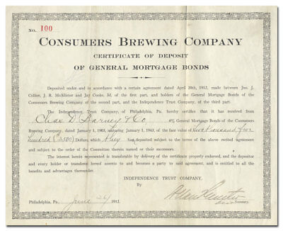 Consumers' Brewing Company Stock Certificate