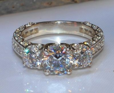 Certified 2.20 Ct Round Brilliant Diamond Solid 14K White Gold Engagement Ring
