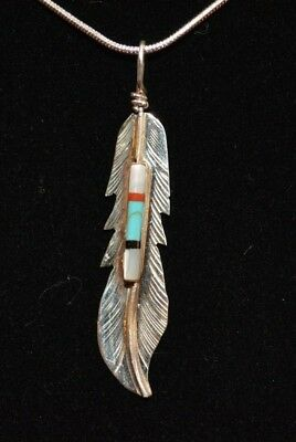 Necklace Feather Multi Stone Sterling Silver Native American Navajo Fred Barney