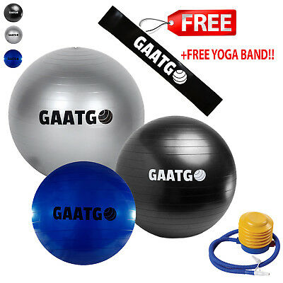 Yoga Ball 55cm 65cm 75cm Exercise Ball & Band PVC Pregnancy Birthing Ball w/Pump