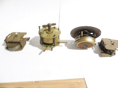 Found 4 Smallmixed Antique Brass Clock Movements