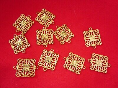 20 Gold Plated Filigree Connectors 16mmx12mm Brass Stampings #1291 Findings