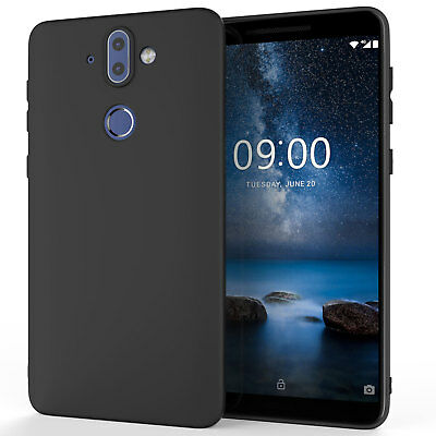 Nokia 8 Sirocco Case Silicone Ultra Thin Gel Protective Phone Cover Matte Black