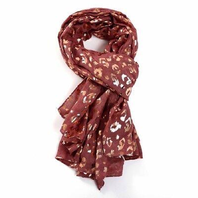 Rose Gold Foil Leopard Print Scarf Grey Navy Blue Ladies Silver Animal Womens