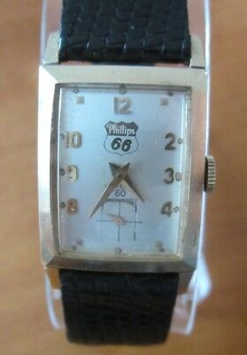 1958 14K Solid Gold Phillips 66 Lord Elgin 60 Wrist Watch