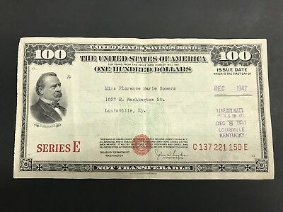 U S savings bonds $100.00 Dec. 1947 SERIES E RED SEAL