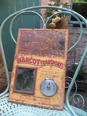 Fabulous Vtg.french Metal Marcot Transports Advertising Sign ~Mirror Thermometer