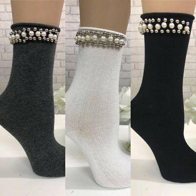 Women, Ladies, Pearl & Bead Detailed Socks  Size 3 To 7,  3 Colours