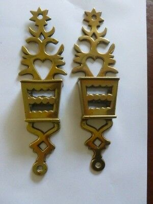 Pair Of Antique Brass Wall Hanging Match Box Holders