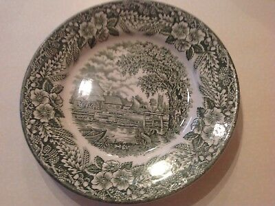 """Broadhurst Staffordshire Green And White Small Plate ENGLISH SCENE 8"""" Wide"""