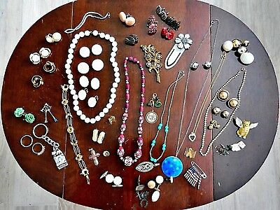 Vintage Mixed Lot (55pc) Misc Jewelry -Broken,Odd, Mismatched for Repair / Parts