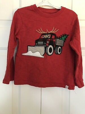 Gap Toddler Boys Holiday Tee, Red, Long Sleeve, Size 4T