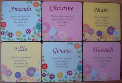 PERSONALISED COASTERS - BRAND NEW - FEMALE NAMES AND MEANINGS  A to H