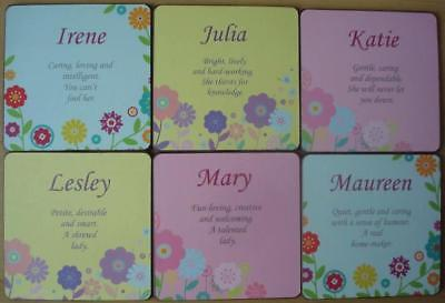 PERSONALISED COASTERS - BRAND NEW - FEMALE NAMES AND MEANINGS  I to M