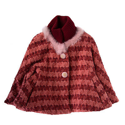 I PINCO PALLINO I&S CAVALLERI Cape Size 6Y Wool Blend Fur Trim Made in Italy