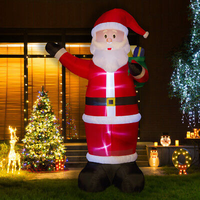 Glitzhome 11.81FT Christmas Santa Lighted Inflatable Air Blown Yard Garden Decor
